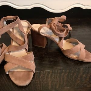 Kenneth Cole Suede Lace Up Block Heel Sandals